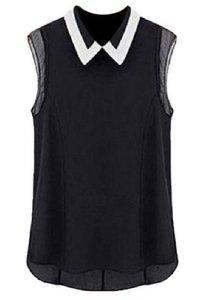 China Womens Sleeveless Button Vintage Sheer Tops Lace Chiffon Blouse Black on sale