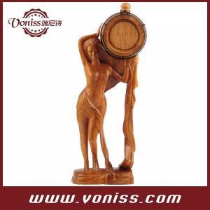 China 0.75 Liter Beauty Shape Oak Barrel Artwork Hand-carved Oak Wood Barrel on sale