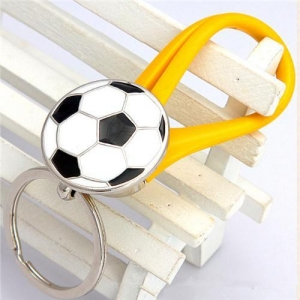 China soccer ball keychains -rubber keyrings on sale