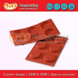 China jn-016 6 Cavities flan mold cake baking pans silicone bakeware for cake decorating on sale