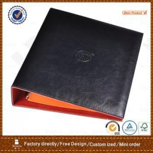 China clear-front report cover, leather-grain pocket portfolios with 3 prongs, assorted color on sale