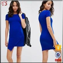 China Alibaba china short sleeves mini bodycon asymmetrical jersey dress on sale