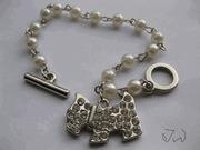 China Freshwater Pearl 10 KT White Gold Plated bracelet With Dog CZs Tag on sale