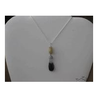 Amethyst stone drop necklace with yellow Jade