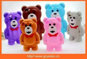 China For iphone 4 5 6 iplus 3D Bear silicone case cover , cell phone silicon cases on sale