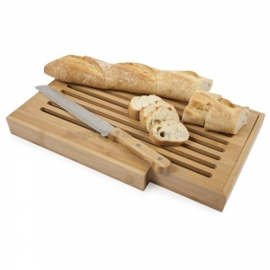 China Bamboo bread cutting board with knife on sale
