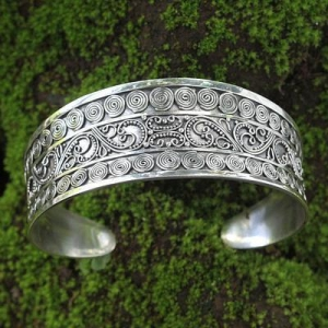 China Ornate One-Inch Wide Balinese Sterling Silver Cuff, 'Gianyar Fascination' on sale