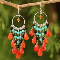 Thai Beaded Carnelian Chandelier Earrings,