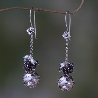 China Fair Trade Chime Earrings in Sterling with Pearl and Garnet, 'Bali Chime' on sale
