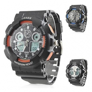 China Men's Analog-Digital Multi-Functional Black Rubber Band Sporty Wrist Watch (Assorted Colors) on sale