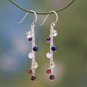 China Gemstone Chakra Theme Waterfall Earrings, 'Tranquility' on sale
