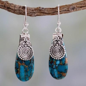 China Turquoise Color Earrings Hand Crafted in Sterling Silver, 'Delhi Legacy' on sale