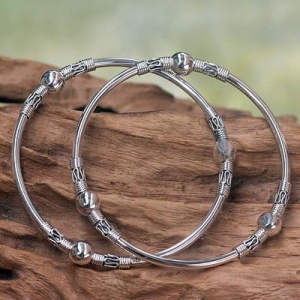China Sterling Silver Bangle Bracelets from Indonesia (Pair), 'Ubud Moons' on sale