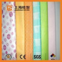 China Blue Wave Printed Foam Bonding Viscose Rayon Nonwoven Wiping Cloth for Home / Hotel on sale
