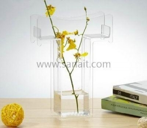 China T shaped clear acrylic vase SHS-076 on sale