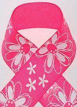 China Bright Pink Glitter Printed Daisy Craft Ribbon on sale