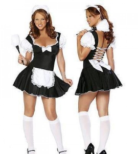 China 9804 Adult Women Cosplay French Maid Sexy Costume $9.50 $11.40 on sale