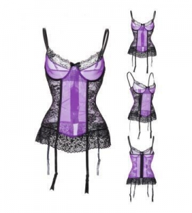 China H3775-Purple Gauze&Black Floral Lace Patchwork Women Corset Body Shaper Sexy Lingerie $7.50 $9.00 on sale