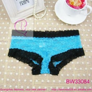 China School girls sex photos of blue lace hipster panty full lace transparent panty on sale