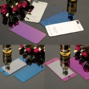 China Front+Back Mirror Effect color tempered glass screen protector for iphone 5 on sale