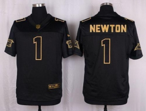 China Nike Panthers #1 Cam Newton Black Men's Stitched NFL Elite Pro Line Gold Collection Jersey on sale