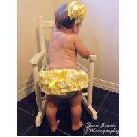 Yellow Chevron Satin Ruffle Bloomer