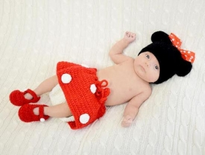 China Minnie Mouse Crochet Diaper Cover Set on sale