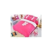 55 Cute Rabbit Print Rose Red Girls 3-Piece Duvet Cover Sets