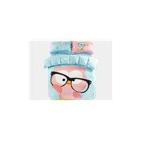 Lovely Owl in Glasses Print 3-Piece Purified Cotton Kids Duvet Cover Sets