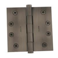 "Antique Nickel 4"" x 4"" Solid Brass Square Corner Plain Bearing Mortise Hinge - Single Hinge"