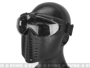 China Pro-Goggle Airsoft Full Face Mask w/ Integrated Fan - Black on sale