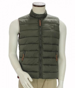 China Men Fashion Cold Weather Winter Sleeveless Puffy Vest High Neck Hooded on sale