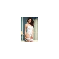 China Lingerie Stretch Lace Bustier with Garter Belt White on sale