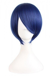 China MapofBeauty Short Straight Cosplay Costume Wig Party Wig (Dark Blue/ Black) on sale