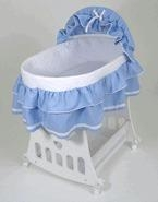 China Badger Basket 751 Blue Waffle Portable Bassinet 'n Cradle w/Toybox Base on sale