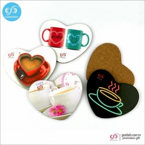 China Products Drink cup mats custom blank wood coasters heart-shaped MDF cork coaster on sale
