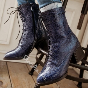 China Shoespie High Quality Embossed Leather Lace Up Martin Boots on sale