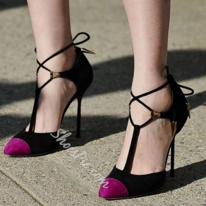 China Shoespie Classy Color Block Lace Up Stiletto Heels on sale