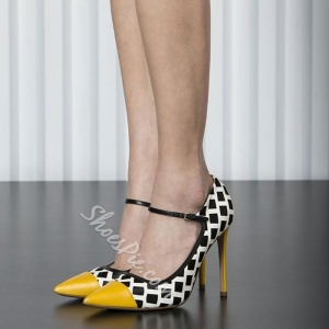 China Shoespie Stylish Geometric Print Stiletto Heels on sale