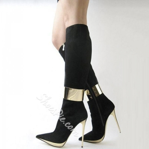 China Shoespie Elegant Black Pointed Toe High Heel Knee High Boots on sale