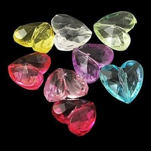 China Mixed Color Heart Transparent Acrylic Faceted Beads, about 1...(X-PL700Y) on sale