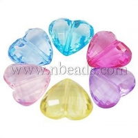 China Transparent Acrylic Heart Beads, Faceted, Mixed Color, about...(X-PL622Y) on sale