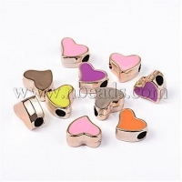 China Mixed Color Heart Large Hole Charms Acrylic Enamel Beads Fit...(X-OPDL-R031-10E) on sale