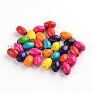 China 200PCS Mixed Lead Free Oval Wood Beads, Dyed, 5x8mm, hole: 2...(X-TB096Y) on sale