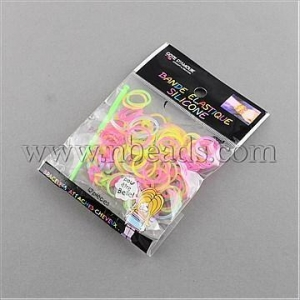 China Closeout Fluorescent Neon Color Rubber Loom Bands Refills wi...(X-DIY-R006-M) on sale