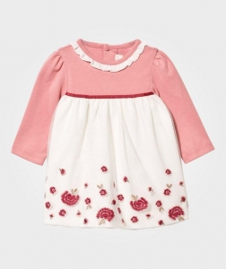 China Floral Embroidery Dress Old Pink on sale