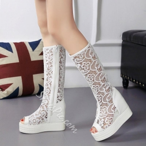 China Shoespie White Lace Inset Peep Toe Knee High Boots on sale