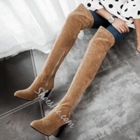 China Shoespie Soft Leather Low Heel Thigh High Boots on sale