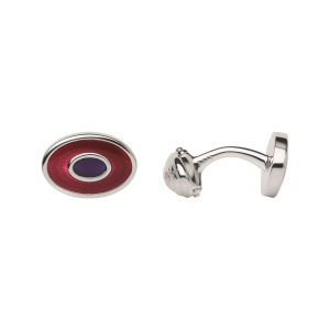 China MEN Sterling Silver & Red Enamel Guilloche Cufflinks on sale