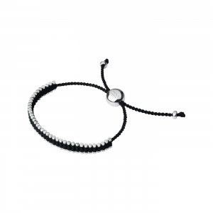 China WOMEN Sterling Silver & Black Mini Friendship Bracelet on sale